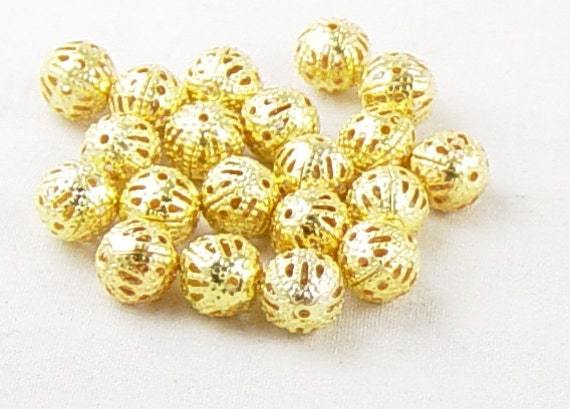 20 Bead Spacers Antique Golden Filigree Flower 8mm (1031spa08d1) ... last remaining packages