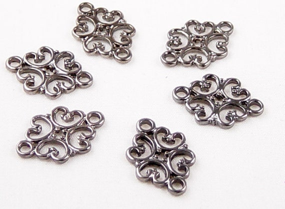 CLEARANCE Jewelry Connectors 6 Black Gunmetal Filigree 2-Ring Victorian 18mm NF (1011con18k1)os
