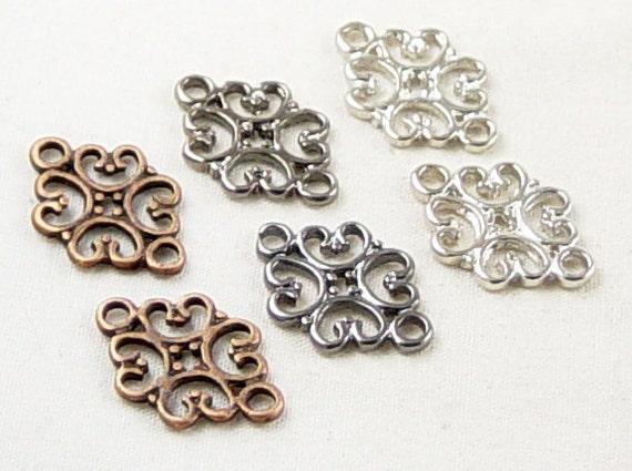 Jewelry Connectors 6 Copper Black Silver Filigree 2-Ring Victorian 18mm NF (1011con18m1)
