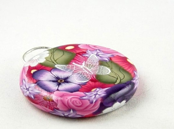 1 ROUND FOCAL BUTTERFLY FLORAL FLOWER CLAY BEAD STERLING SILVER BAIL 849