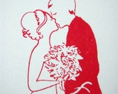 Rubber Stamp Kissing Bride and Groom Wedding