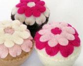 Cupcakes Pink Felt Play Food Set of 3