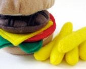 CUSTOM Listing for idreamingreen Wool Felt Play Food Hamburger and Hot Dog Set