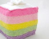 Wool Felt Rainbow Cake Spring Pastel Slice Toy