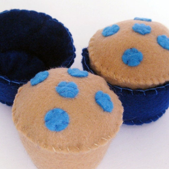 Blueberry Muffins Felt Play Food NEW ORIGINAL ITEM