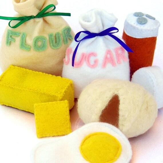 Baking Ingredients Wool Felt Play Food Set