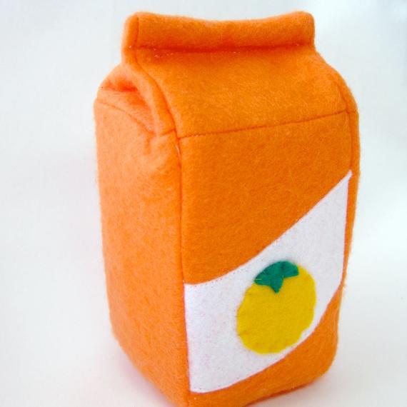 Felt Food Toy Orange Juice Carton