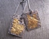 Smash Tag Earrings/Sterling Silver and Gold