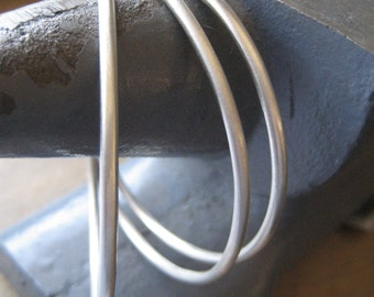 White Hot Silver Sterling Silver Bangle Bracelet