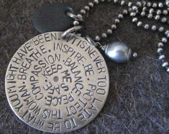 Keep Me Safe Pendant/Sterling Silver Necklace Hand Stamped
