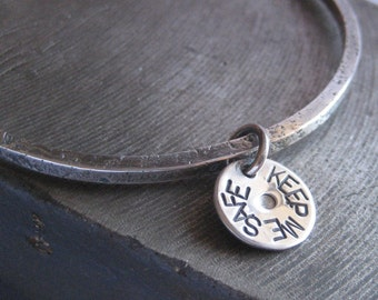 Keep Me Safe Sterling Silver Bangle Bracelet with Charm