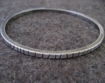 Random Lines Sterling Silver Bangle.......Sterling Silver Bracelet