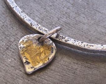 Golden Lotus Petal Sterling Silver Bracelet with Keum Boo