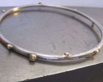 Twiggy Sterling Silver Bangle Bracelet with 14K Gold Buds
