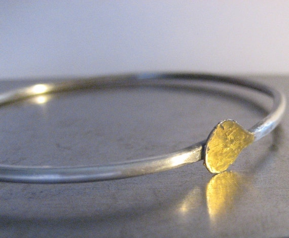 Shanti Sterling Silver Bangle Bracelet with Keum Boo Gold