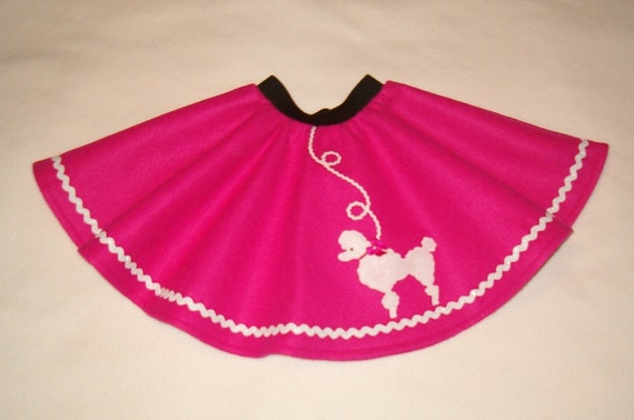 Hot Pink Poodle Skirt with White Poodle   Little Girls size 2T