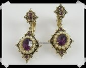 Vintage Coro Victorian Revival Earrings Antiqued Goldtone and Amethyst Purple