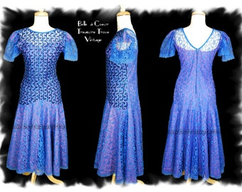 1980s Prom Dress Party Electric Blue Sequins Lace Small