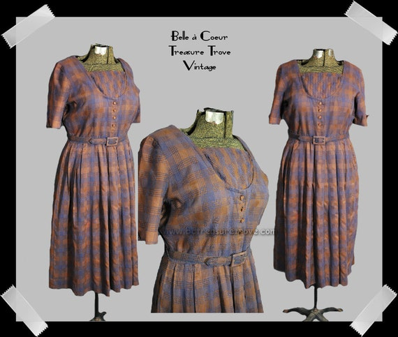 1950s Dress Vintage Brown and Blue Plaid Day Dress Large Size