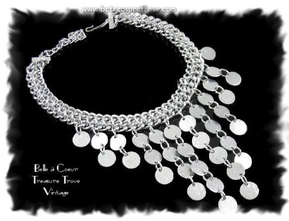 Silvertone Choker Necklace Vintage Sarah Coventry Pyramid Treasure