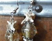 bone and bead earrings