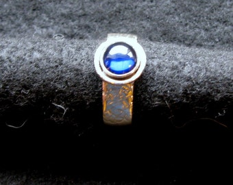 lapis lazuli and handforged sterling silver ring in size 10