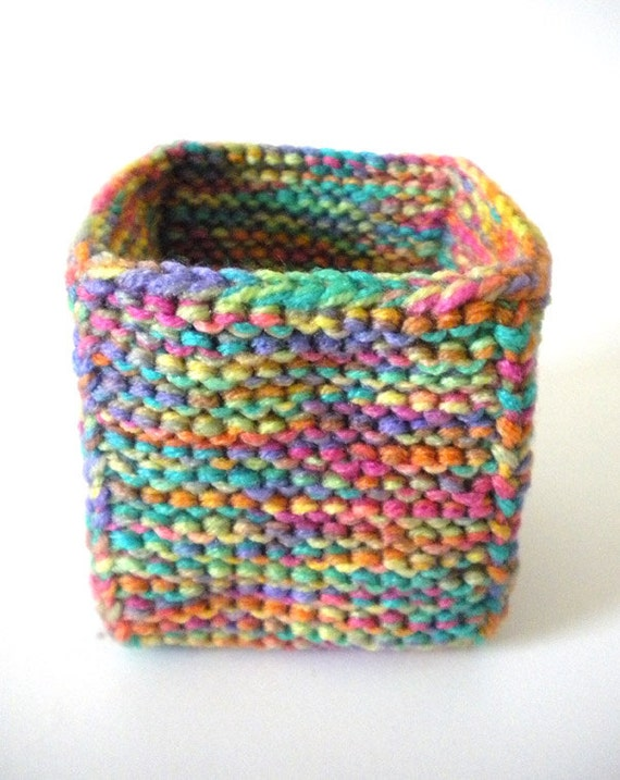 Knitted Box - Square Cube Bright Jewel Tones