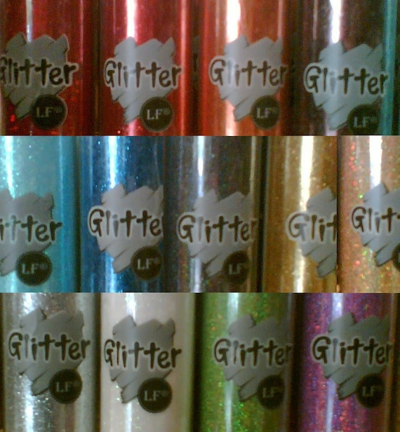 Glitter bottle of very fine glitter in 13 colors- white, black, pink, red, blue, gold, silver, etc