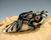 Glass frog pendant, Boro Focal Lampwork bead, Totem Clear Leaf, black body, Red eyes (made to order))