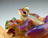 Dichroic GLASS FROG Pendant Boro Sun Catcher Ornament Purple legs (made to order)