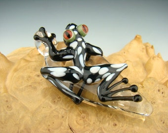 Glass Frog Pendant Polka dot Black and white Lampwork Borosilicate Focal Boro Bead Sun Catcher Totem VGW KT (made to order)