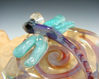 GLASS Dragonfly PENDANT Lampwork Borosilicate ( boro ) Focal Bead Sun Catcher Totem Purple aqua (made to order)