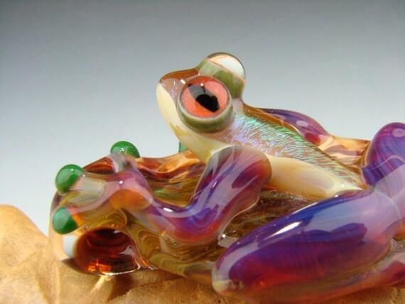 Dichroic GLASS FROG Pendant Boro Sun Catcher Ornament Purple legs (made to order)