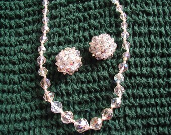 Vintage Laguna aurora borealis crystal necklace and earrings