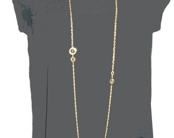 Vintage very long chain NECKLACE with planets