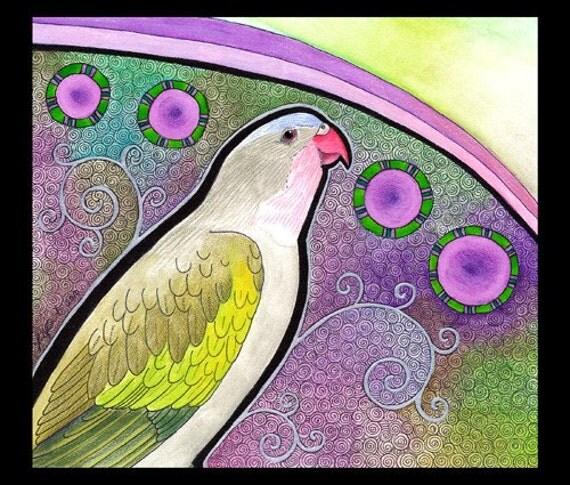 Original Signed Artwork  Princess Parrot as Totem Animal