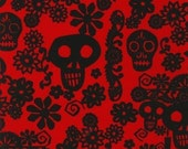 VIVA red black skull robert kaufman cotton quilt fabric
