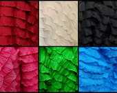 RUFFLES small ruffle stretch fabric BTY pink blue red black green white orange 8 colors