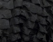 RUFFLES black small ruffle nylon spandex stretch fabric BTY avail in 6 colors