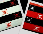 DANGER2 pirate poison awesome white skull black red stripe fabric BTY avail in 2 colors