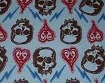 Rockabilly Blue Skull Heart Diy Punk Fabric BTY