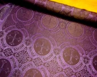 GORGEOUS purple black cross acetate brocade fabric BTY