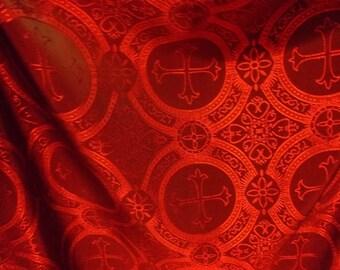 GEORGOUS red cross acetate brocade fabric BTY