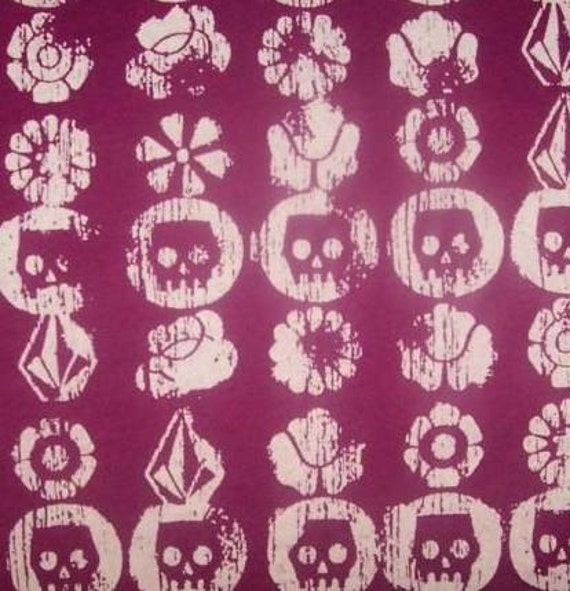 Distressed Pink Skull Jersey Knit FaBRic Diy-Punk