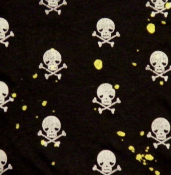 Funky Yellow/Black or Grey/Black Skull Crossbone Jersey Fabric BTY