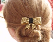 glitter bow hair clip or brooch - gold & black