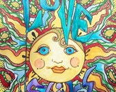 Love Shines, Singleton Hippie Art, Original Watercolor, Sunshine art, Sunrise, Love Art, Psychedelic Sun, Hippie Wall Art, Home Decor, Word