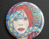 Singleton Hippie Art, Choose Peace, The lipstick mirror