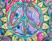 Love Rains Here, Singleton Hippie Art Original