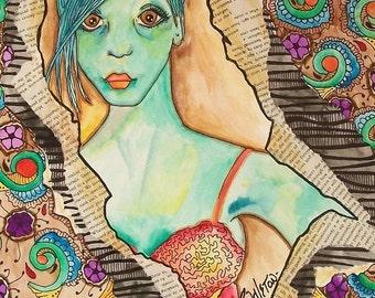 Hippie Singleton Art, Girl in the Broken Window, The Original